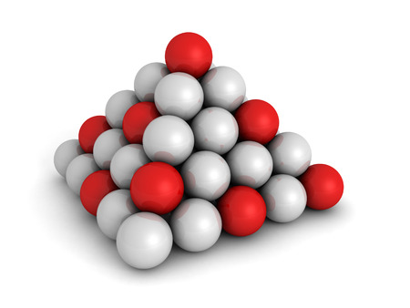 first form: Pyramid Of Red And White Spheres. Business Concept 3d Render Illustration