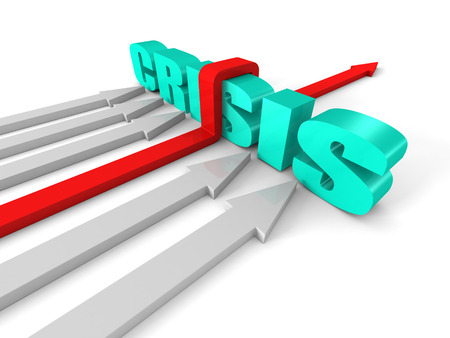Red Successful Arrow Overcoming CRISIS Word Barrier. Success Business Concept 3d Render Illustration