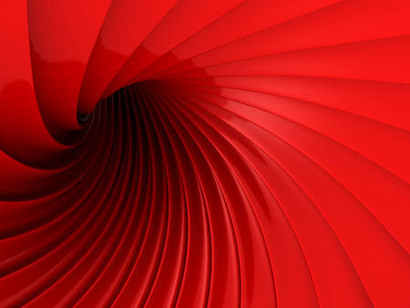 Abstract Red Glossy Wave Futuristic Background. 3d Render Illustration Stock Photo