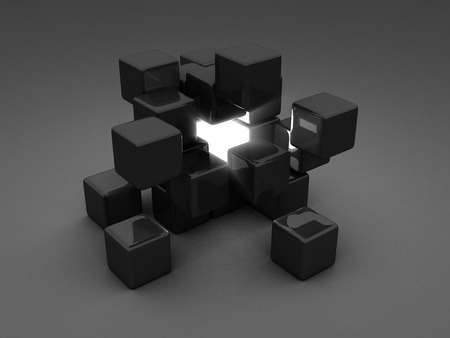 Different Shiny Light Cube Incide Of Dark Group. Individuality Concept. 3d Render illustration