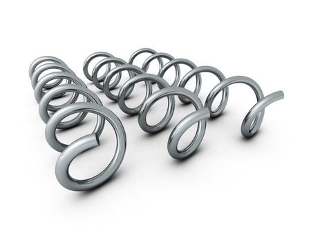 bended: Three Metallic Shiny Springs Spirals On White Background. 3d Render Illustration