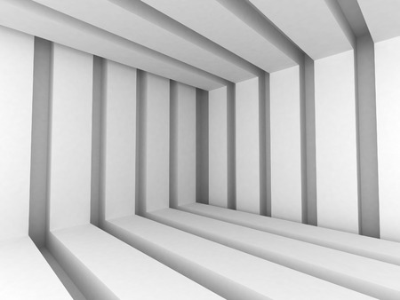 White Abstract Modern Architecture Interior Background. 3d Render Illustration Imagens