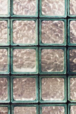glass brick: Old Glass Brick Wall. Grunge Effect Toned Photo Stock Photo