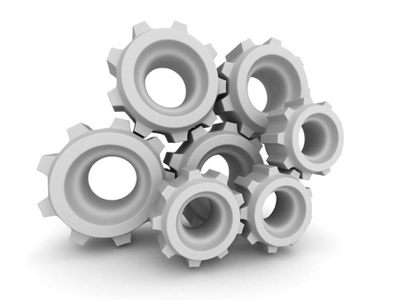 interlock: Metal Gears And Cogwheels On White Background. 3d Render Illustration