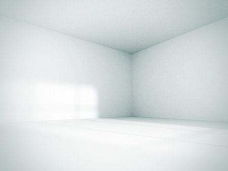 room: Empty Room Interior White Background. 3d Render Illustration