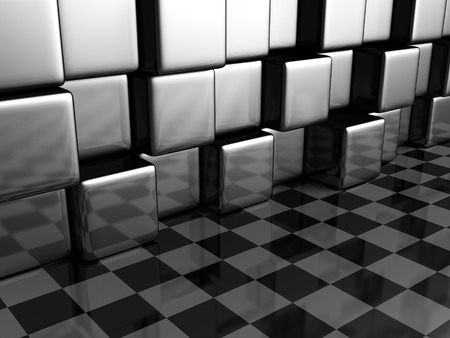 diagonals: Abstract Metallic Cubes And Checker Background Wall. 3d Render Illustration Stock Photo