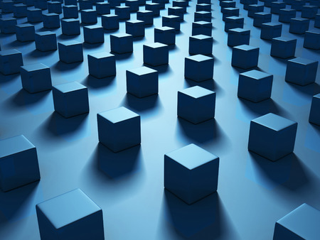Blue Cubes Abstract Dark Geometric Background. 3d Render Illustration Stock Photo