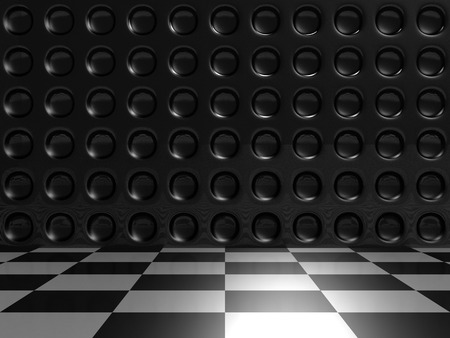 Aluminum Dark Silver Metallic And Checker Background. 3d Render Illustration illustration