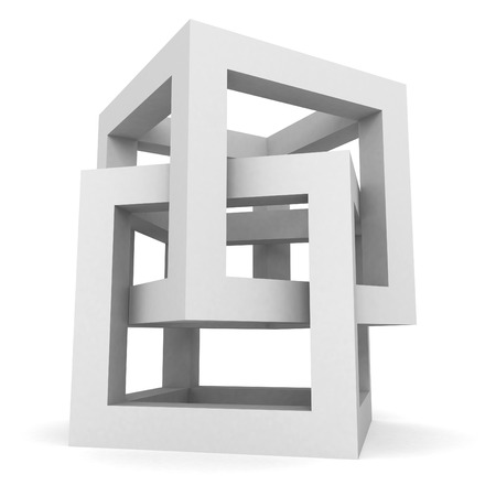 Abstract White Cube Structure Object. 3d Render Illustration illustration