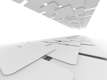 Abstract White Blank Squares Design Background. 3d Render Illustration