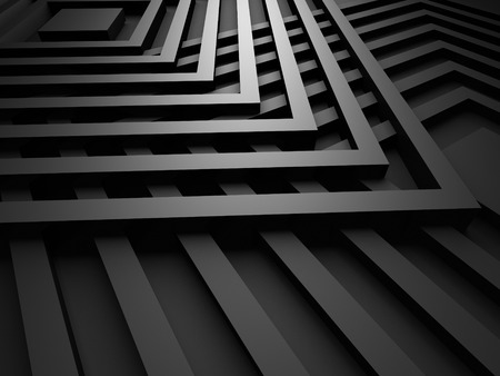 black metallic background: Black Design Metallic Background With Squares. 3d Render Illustration