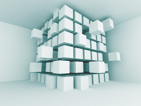 blue 3d blocks: Abstract Blue Interior Blocks Design Background. 3d Render Illustration Stock Photo