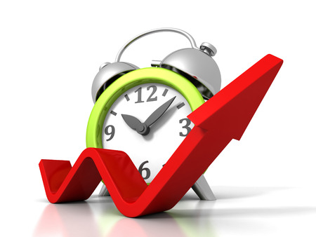 Alarm Clock With Rising Up Growing Arrow. Time Success Concept 3d Render Illustration Stock Photo