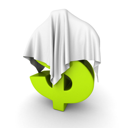 white cloth: Green Dollar Currency Symbol Under White Cloth. 3d Render Illustration