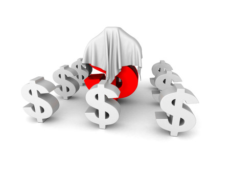 white cloth: Big Red Different Dollar Currency Symbol Under White Cloth. 3d Render Illustration