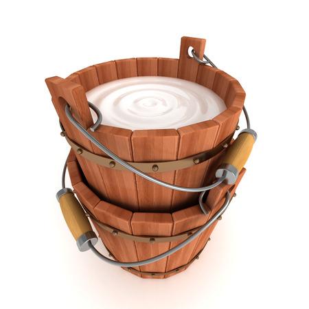 rural wooden bucket: Wooden Bucket With Milk On White Background. 3d Render Illustration