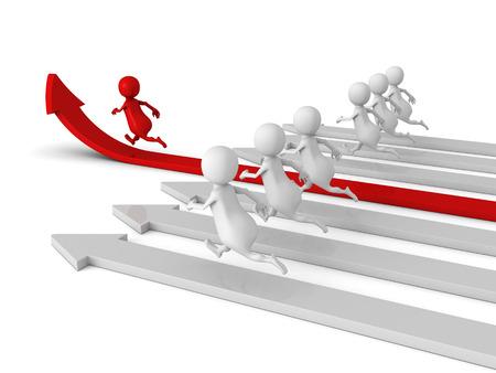 Human Race Competition Of 3d People. Success Winning Concept. 3d Render Illustration illustration