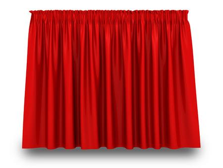 cortinas rojas: Cortina rojo con la sombra sobre fondo blanco. 3d hacer ilustraci�n