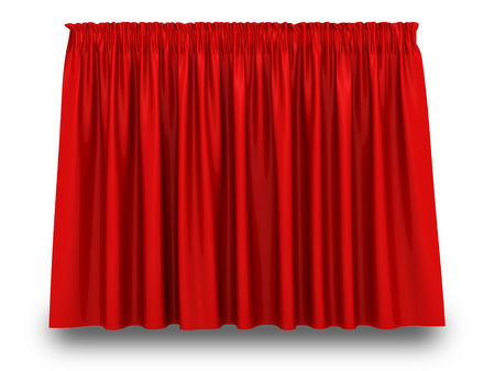 Red Curtain With Shadow On White Background. 3d Render Illustration