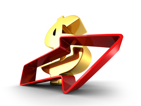 Golden Dollar Currency Symbol With Growing Arrow. 3d Render Illustration illustration