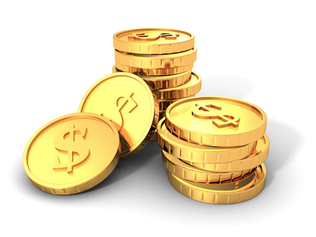 Stacks Of Golden Dollar Currency Coins. 3d Render Illustration
