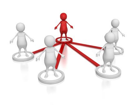 hombre rojo: Estructura Relación de negocios Concepto 3d Grupo Equipo Pueblo. Hombre Líder Rojo. 3d hacer ilustración