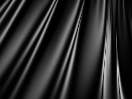 black satin: Abstract Black Satin Silk Cloth Waves Background. 3d Render Illustration