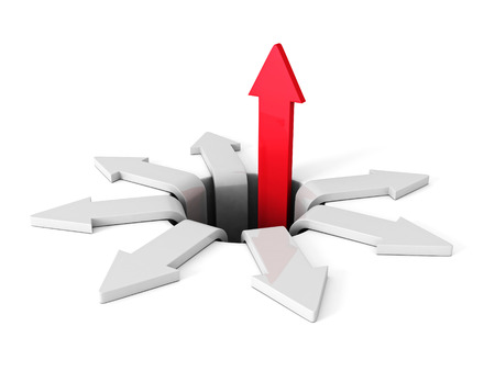 economic downturn: Successful Red Arrow Rising Up From Crisis Hole. Business Concept 3d Render Illustration Stock Photo