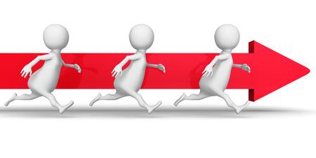 forward arrow: White 3d People Team Running Forward Arrow. Success Business Concept 3d Render Illustration