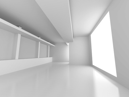 interior: Empty Room Interior Architecture Abstract Background. 3d Render Illustration