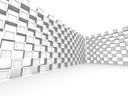 wall design: Abstract Square Blocks Wall Design Background. 3d Render Illustration