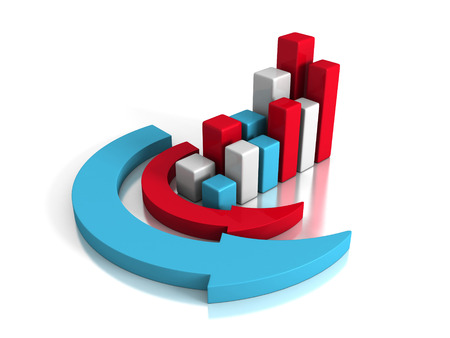 upward graph: Successful Business Graph With Arrows Around. Concept 3d Render Illustration