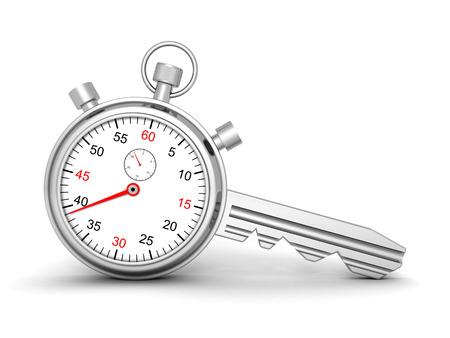 secret number: Stopwatch With Lock Key. 3d Render Illustration