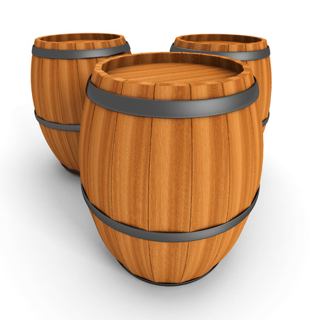 Three Old Wooden Barrels On White Background. 3d Render Illustration