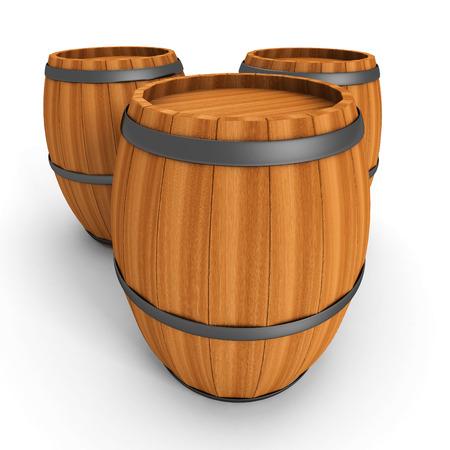 Three Old Wooden Barrels On White Background. 3d Render Illustration
