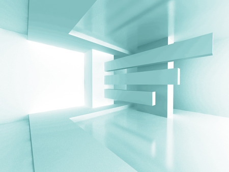 Futuristic Architecture Room Interior Design Background. 3d Render Illustration Stock Photo