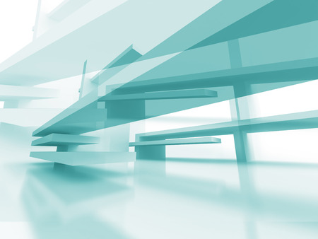 pitched roof: Abstract Architecture Futuristic Blue Design Background. 3d Render Illustration