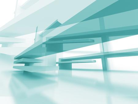 Abstract Architecture Futuristic Blue Design Background. 3d Render Illustration