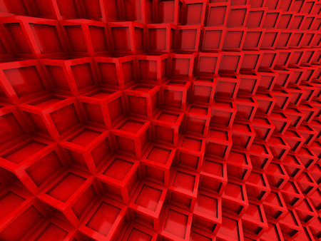 red: Abstract Red Cubes Blocks Wall Background. 3d Render Illustration