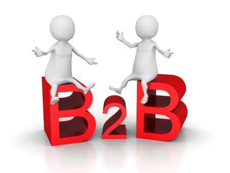 b2e: B2b Business Concept Text With Sitting People. 3d Render Illustration Stock Photo