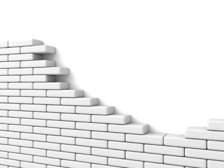 흰색 배경에 벽돌 벽을 깨진. 그림 3d 렌더링 스톡 콘텐츠