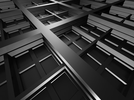 decorration: Dark Metallic Square Industrial Design Background. 3d Render Illustration