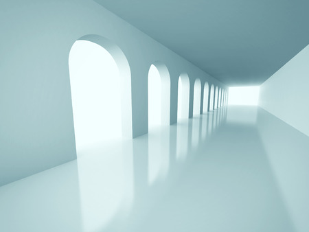 barrage: Abstract Architecture Corridor Interior Background. 3d Render Illustration