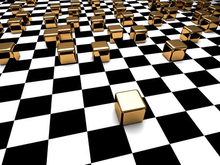 checker: Abstract Cube Blocks Checker Background. 3d Render Illustration