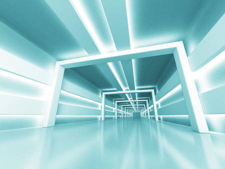 Abstract Futuristic Shiny Light Architecture Background. 3d Render Illustration Stock Photo