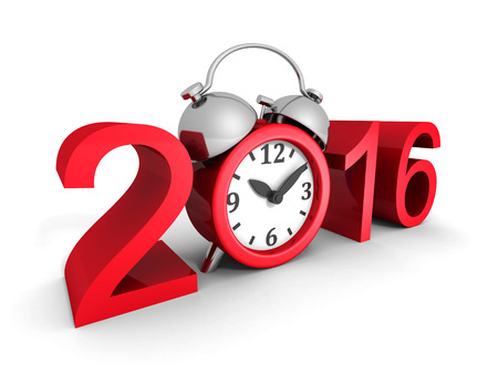 happy hour: New Year 2016 Sign With Red Alarm Clock. 3d Render Illustration Stock Photo