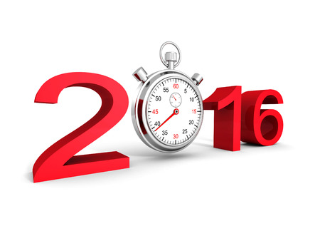 rood teken: 2016 Red Sign Numbers With Classic Stopwatch. 3d Render Illustration Stockfoto