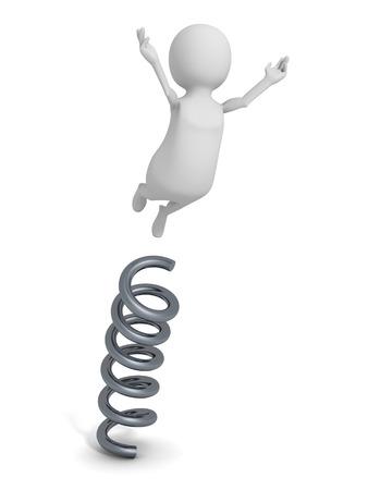 happy 3d: Happy 3d Person Jump On Spring Spiral. 3d Render Illustration