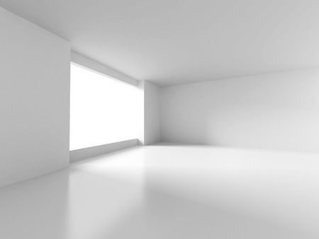 White Room With Window Light. Abstract Interior Background. 3d Render Illustration