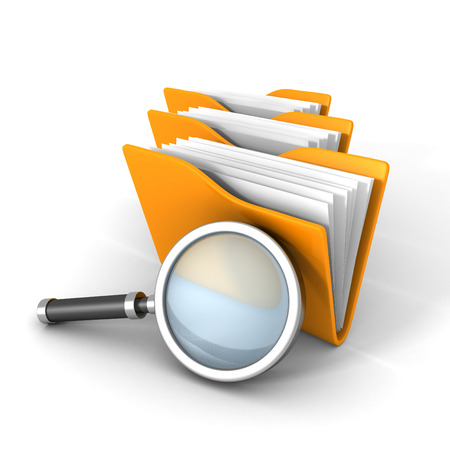 pc icon: Paper Document Folders With Magnifier Glass. 3d Render Illustration Stock Photo